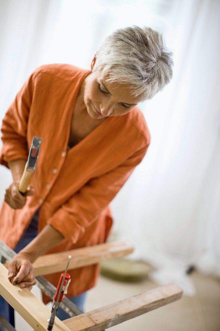 woman doing mechanical skills
