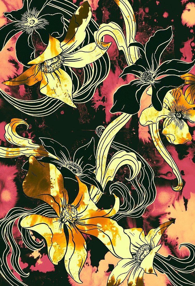 Tropical flower pattern (print)
