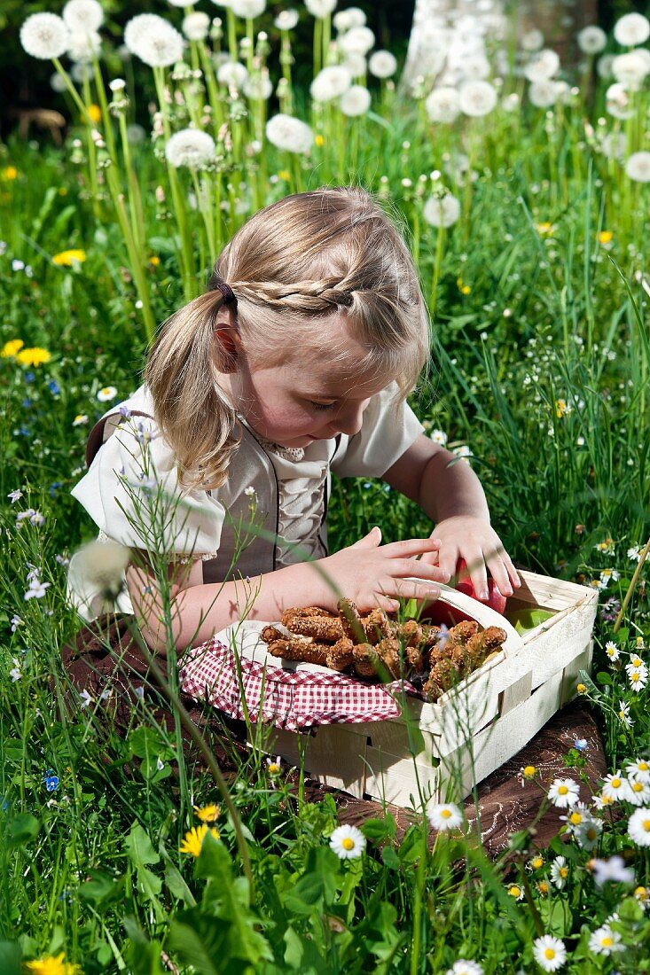 Little girl in national costume with picnic basket in meadow