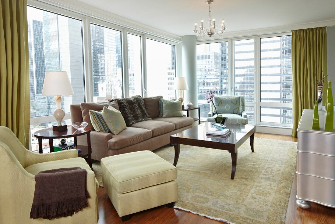 Classic Style Living Room with Floor to Ceiling Windows
