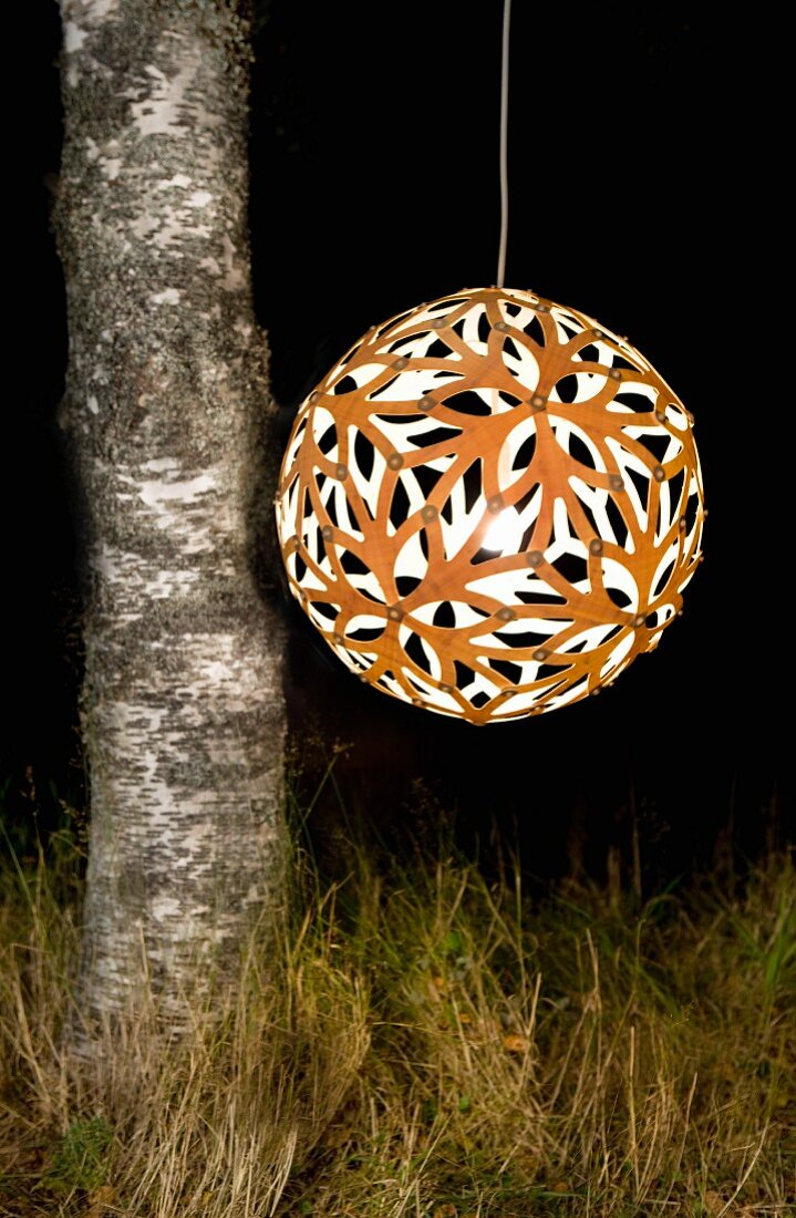 Spherical, perforated, orange pendant lamp hanging next to birch trunk against dark, night-time background like a lantern