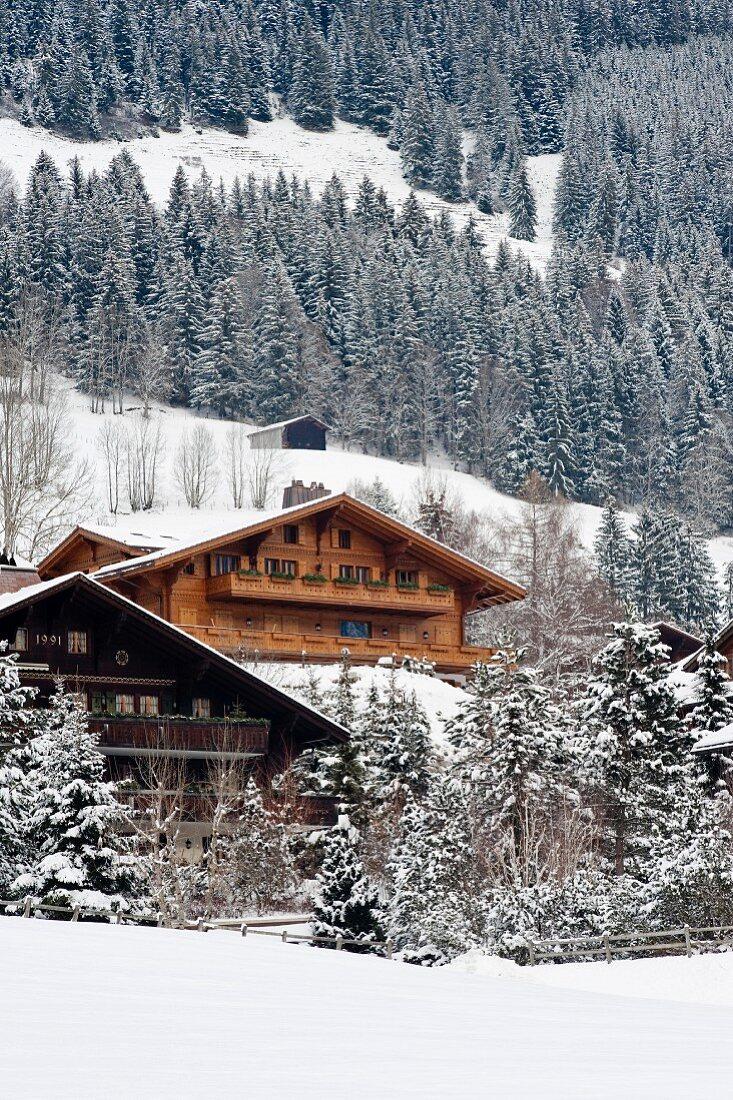 Chalets am Hang in verschneiter Winterlandschaft