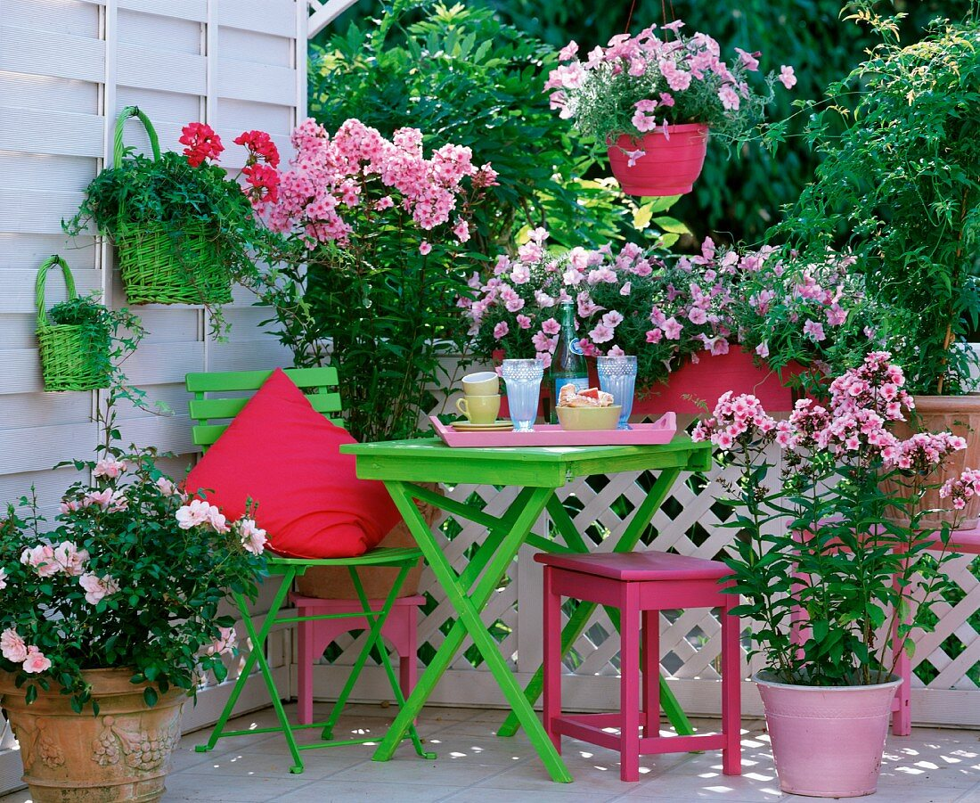 Colourful balcony with spring green accents