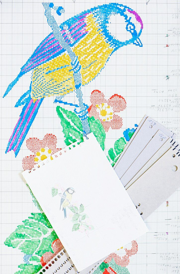 Patterns for making fabric ribbon: watercolour sketch, work sheet and punched cards