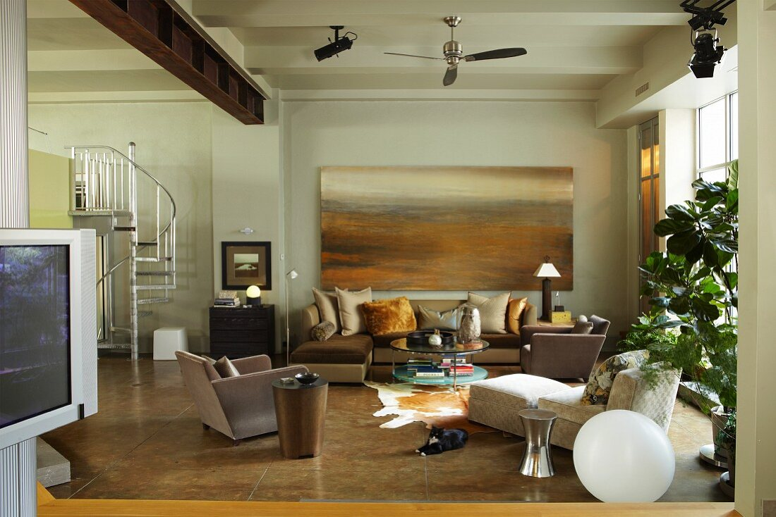 Open living room with lounge area
