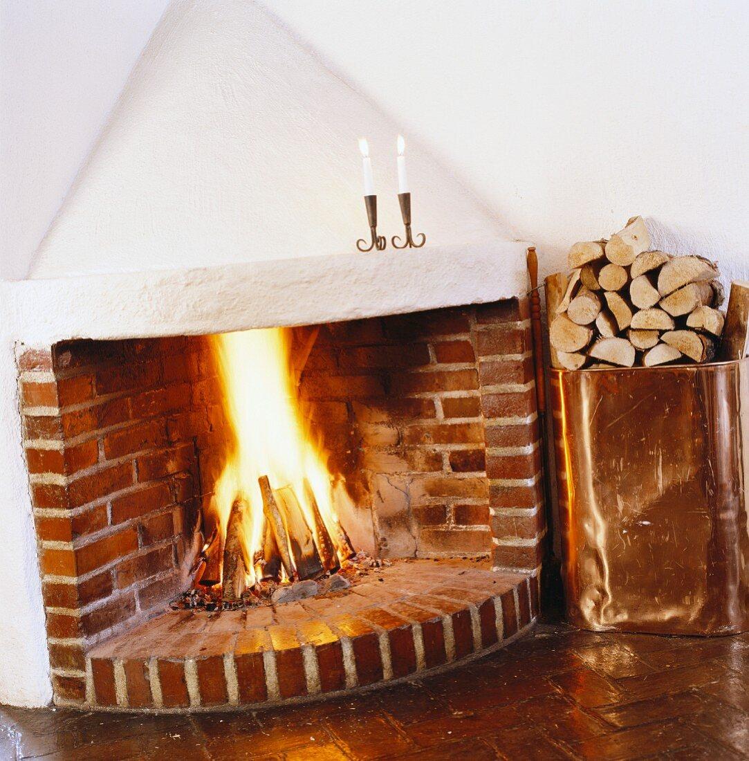 Open fireplace, Sweden.