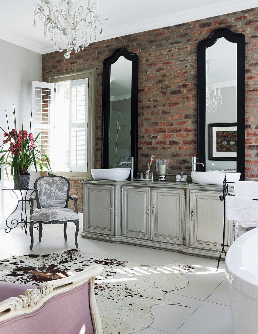 Two Tall Mirrors Above Vintage Washstand Buy Image 11229865 Living4media