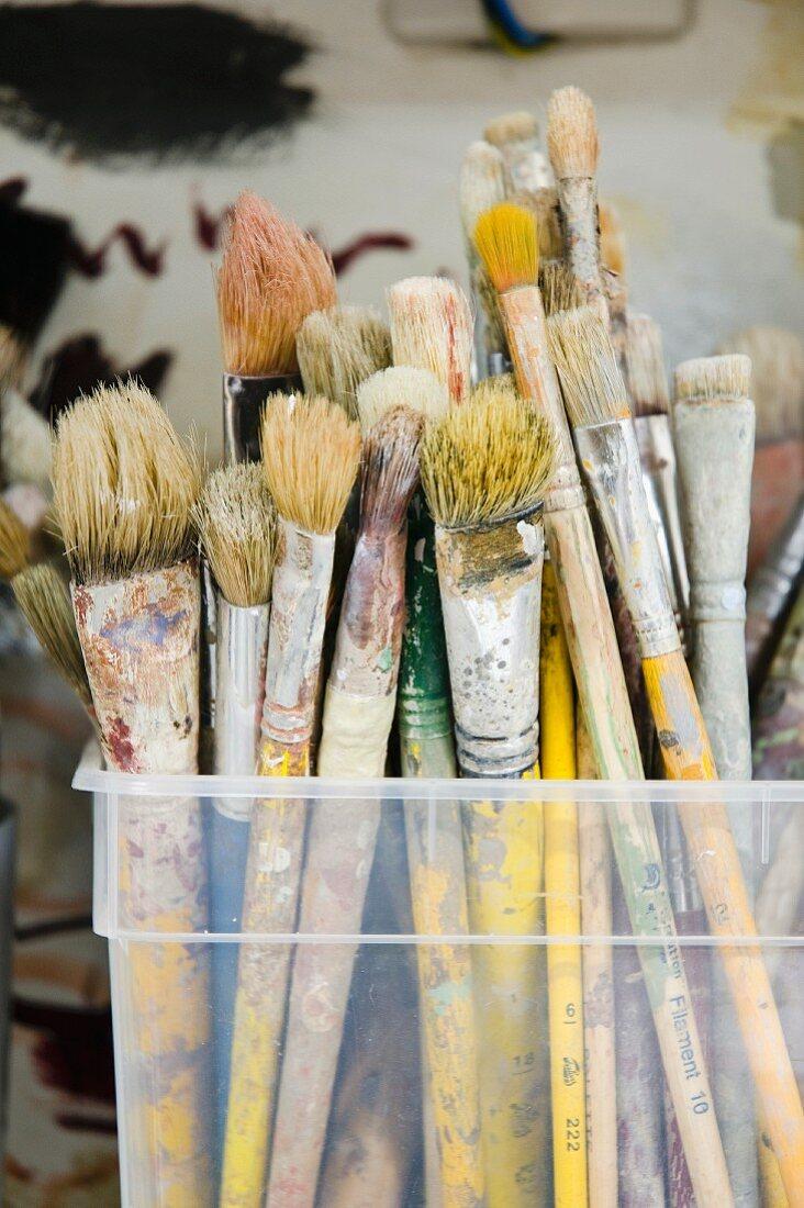 Many paintbrushes in plastic box