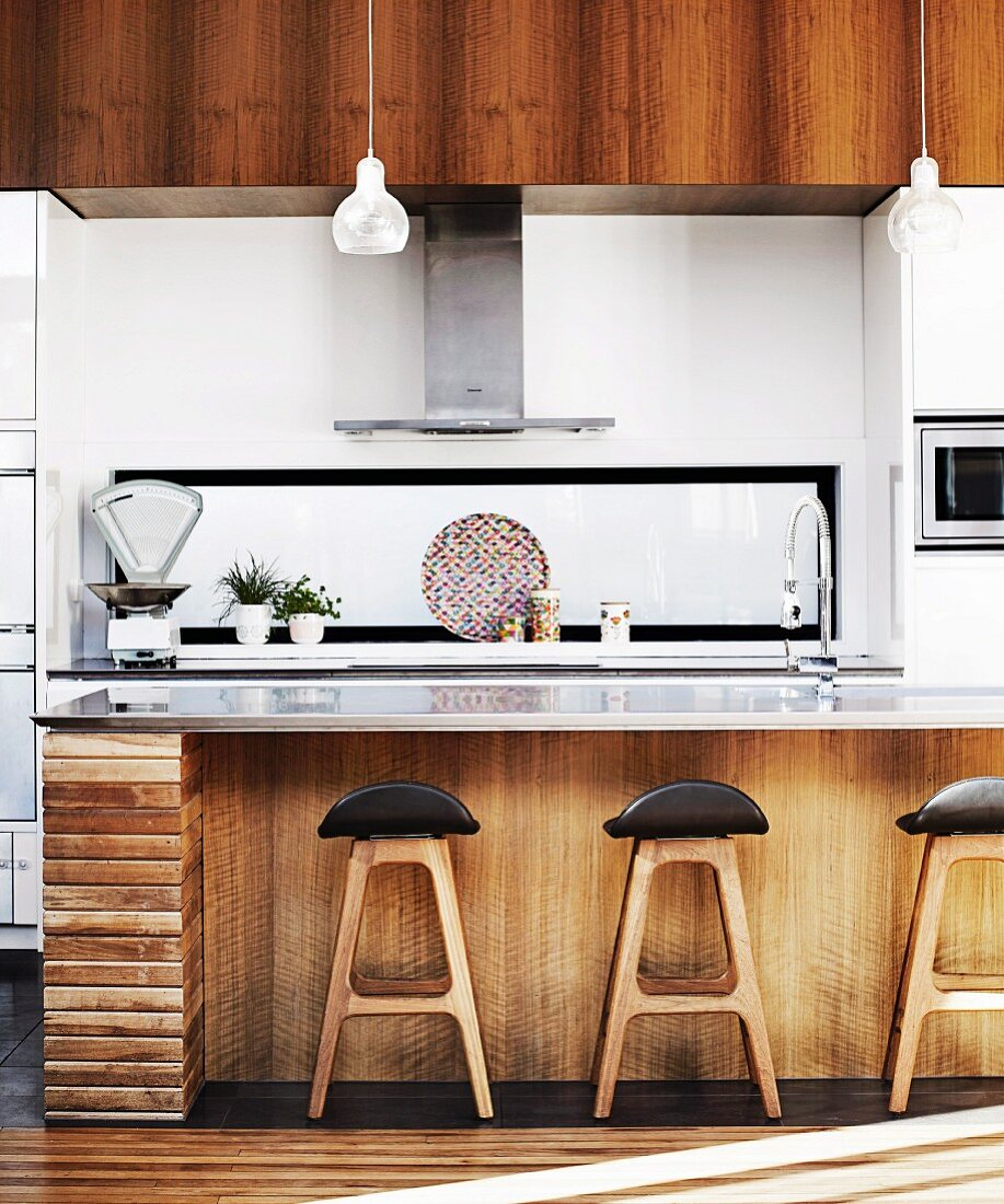 Retro bar stools at counter with rustic … – Buy image – 9 ...