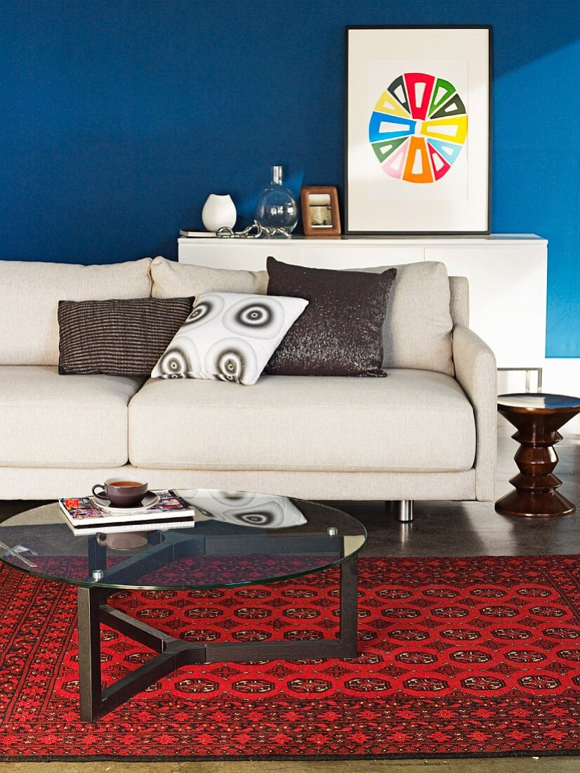 Simple Beige Sofa And Glass Table On Buy Image 11274145 Living4media