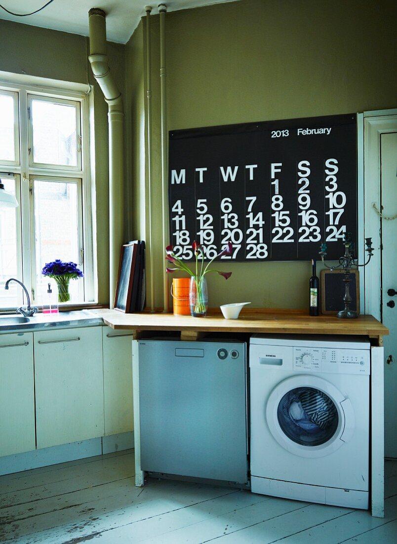 Schlichte, funktionale Küche mit verschiedenen Elektrogeräten unter Holz Arbeitsplatte, an olivgrüner Wand moderner Kalender