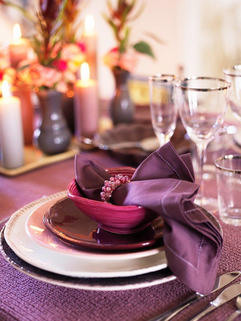 A festive purple place setting
