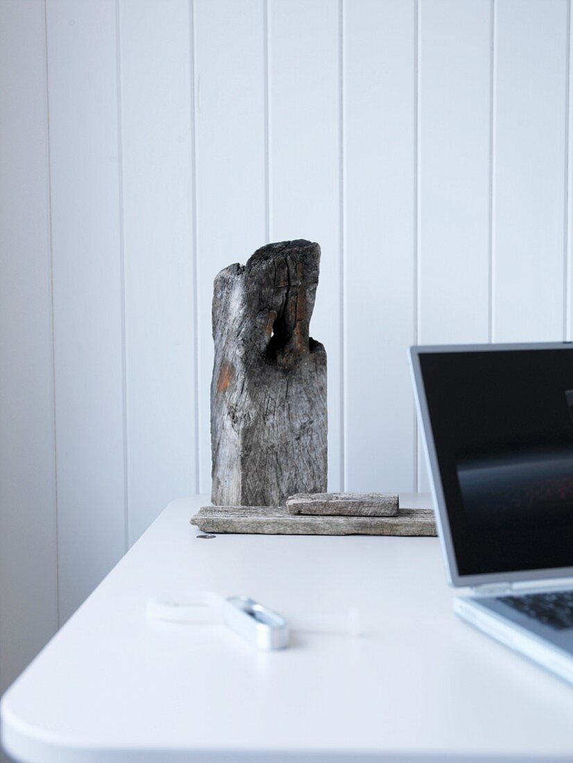 Detail of table with laptop and weathered pieces of wood