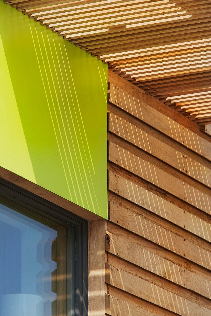Detail of ecological wooden house
