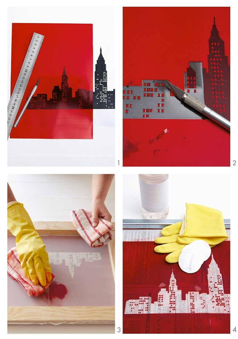 Photo sequence with steps for making a screen print of the New York skyline