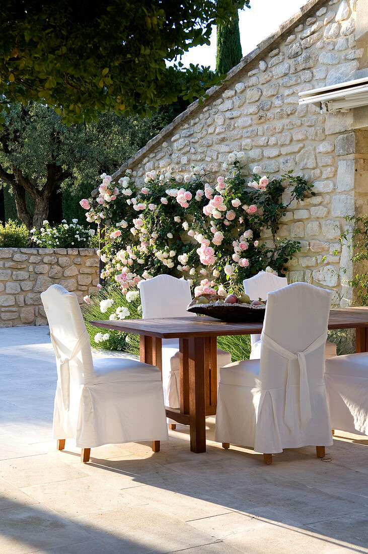 Chairs with loose covers and wooden table on terrace with climbing rose on stone facade of French country house