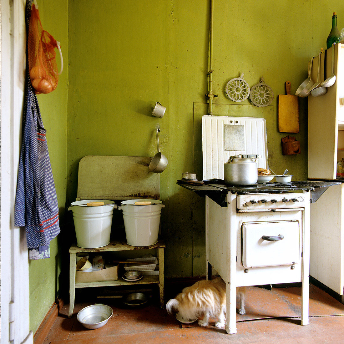 Vintage 50s cooker in plain kitchen with olive green walls and metal buckets on wooden bench