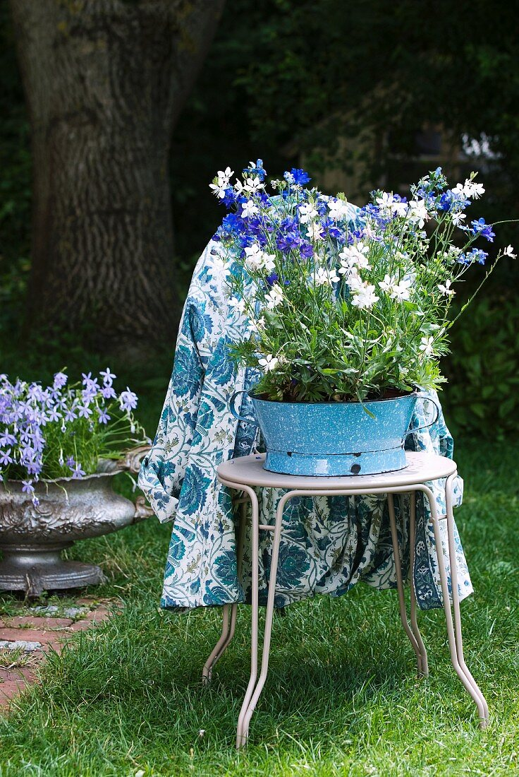 Blue and white summer flowers in old enamel bowl on bistro chair with patterned table cloth hanging over back