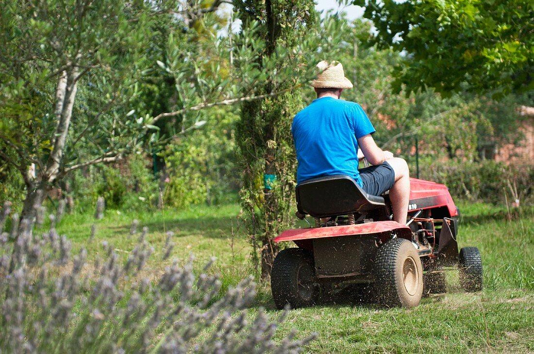 Man driving a ride-on lawnmower through garden