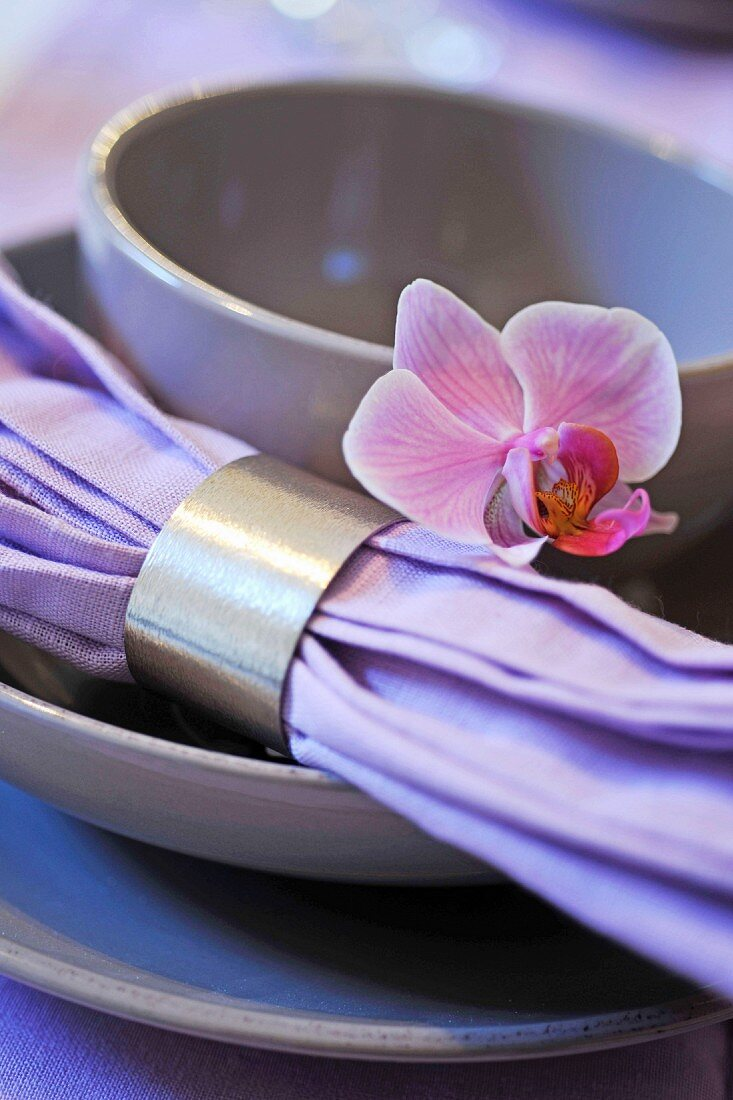 Place Setting With A Cloth Napkin And Buy Image 11075773 Living4media