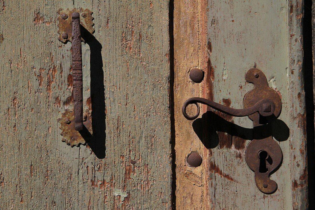 Old wooden door in South Tyrol