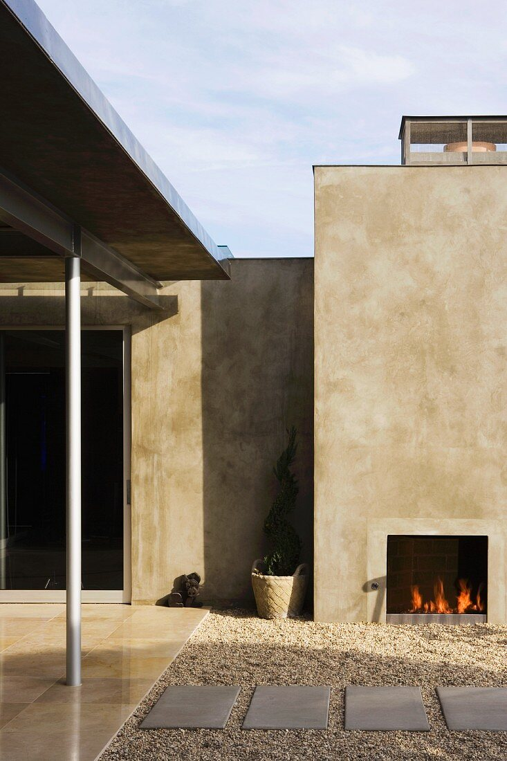 Outdoor Patio With Fireplace In Modern Buy Image 11093555 Living4media