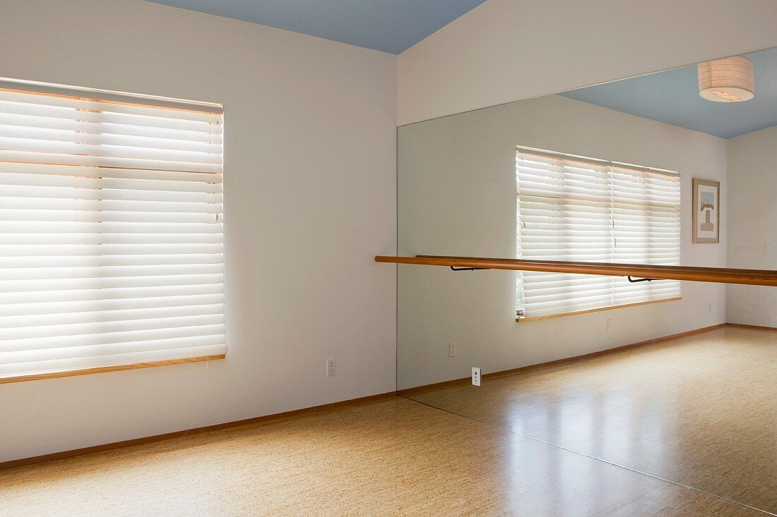 Home yoga studio with mirror
