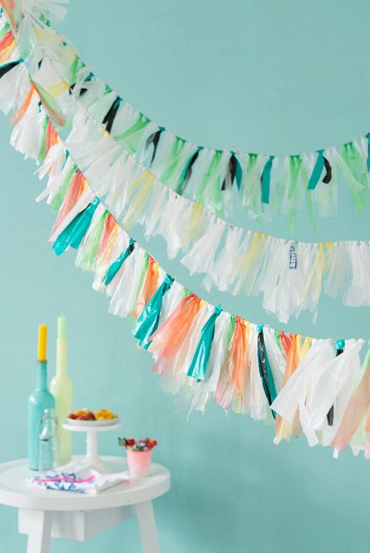 Colourful garlands made from plastic bags