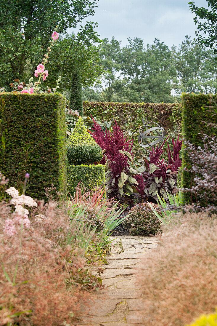 Juxtaposition of topiary and informal planting in garden