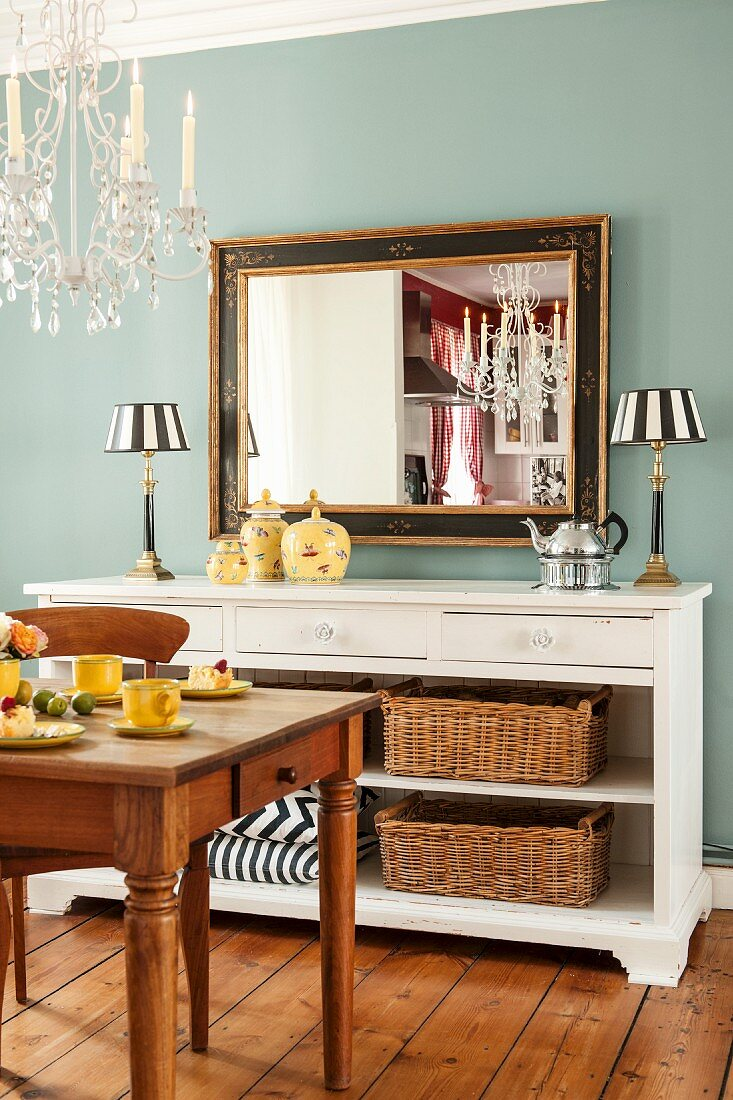 Antique Mirror And Table Lamps On Buy Image 11436833 Living4media