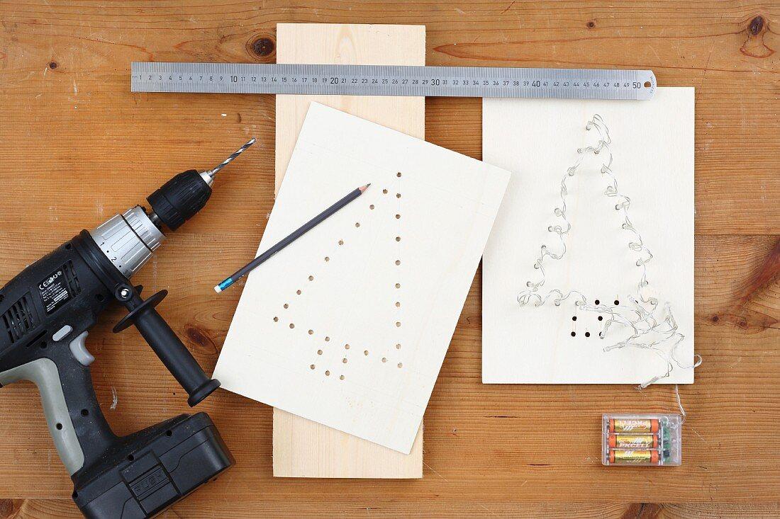 Anleitung für ein Lichtobjekt mit Tannenbaum-Motiv