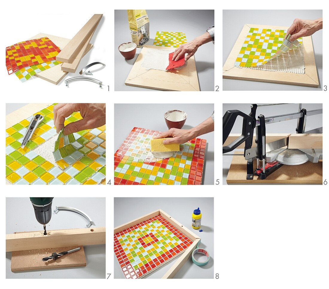 Instructions for making a wooden tray with mosaic tiles