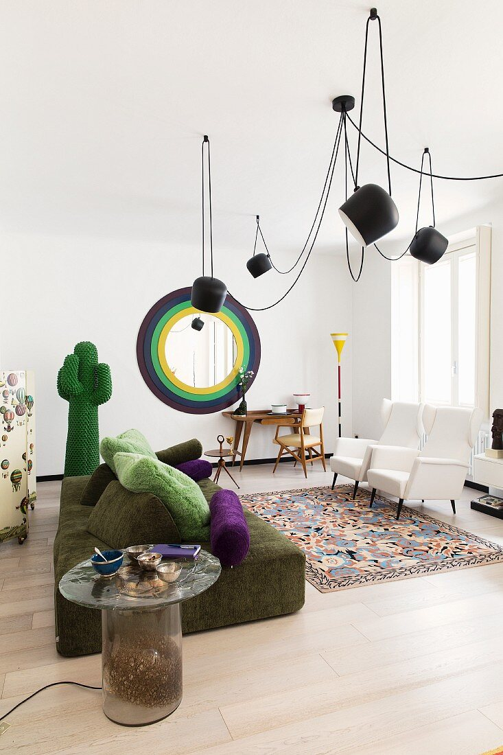 Surrealist designer pieces in living room