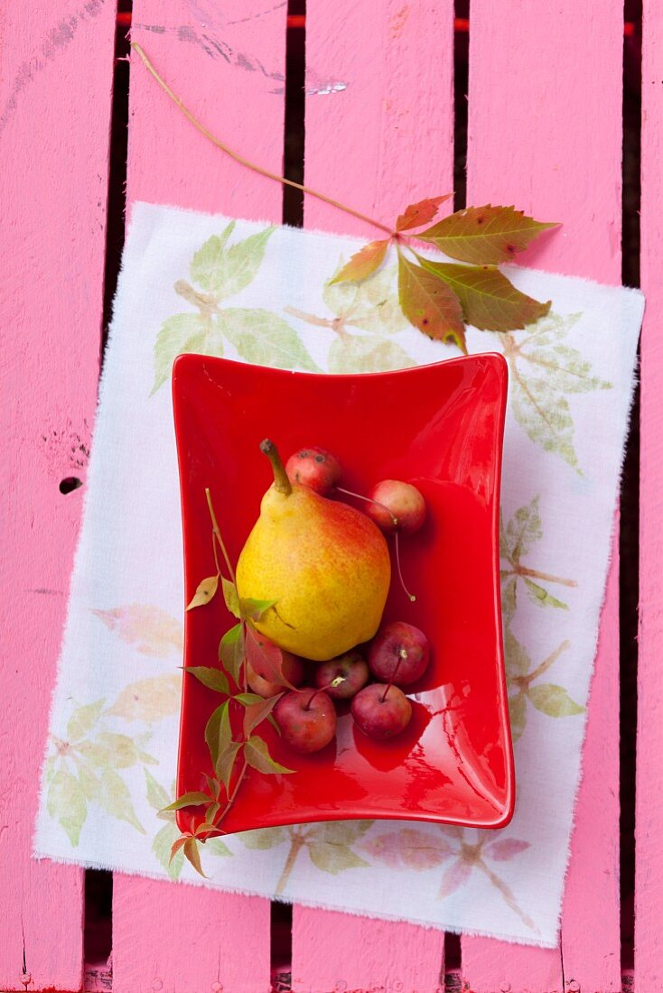 Fruit bowl on fabric printed using leaves and flowers