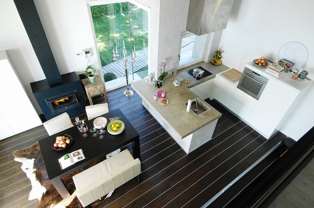 View down onto dining table in open-plan kitchen