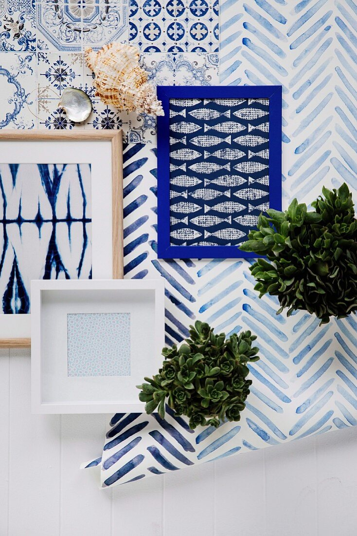 Pattern mix in blue and white colors on ceramic, paper and fabric with a maritime flair
