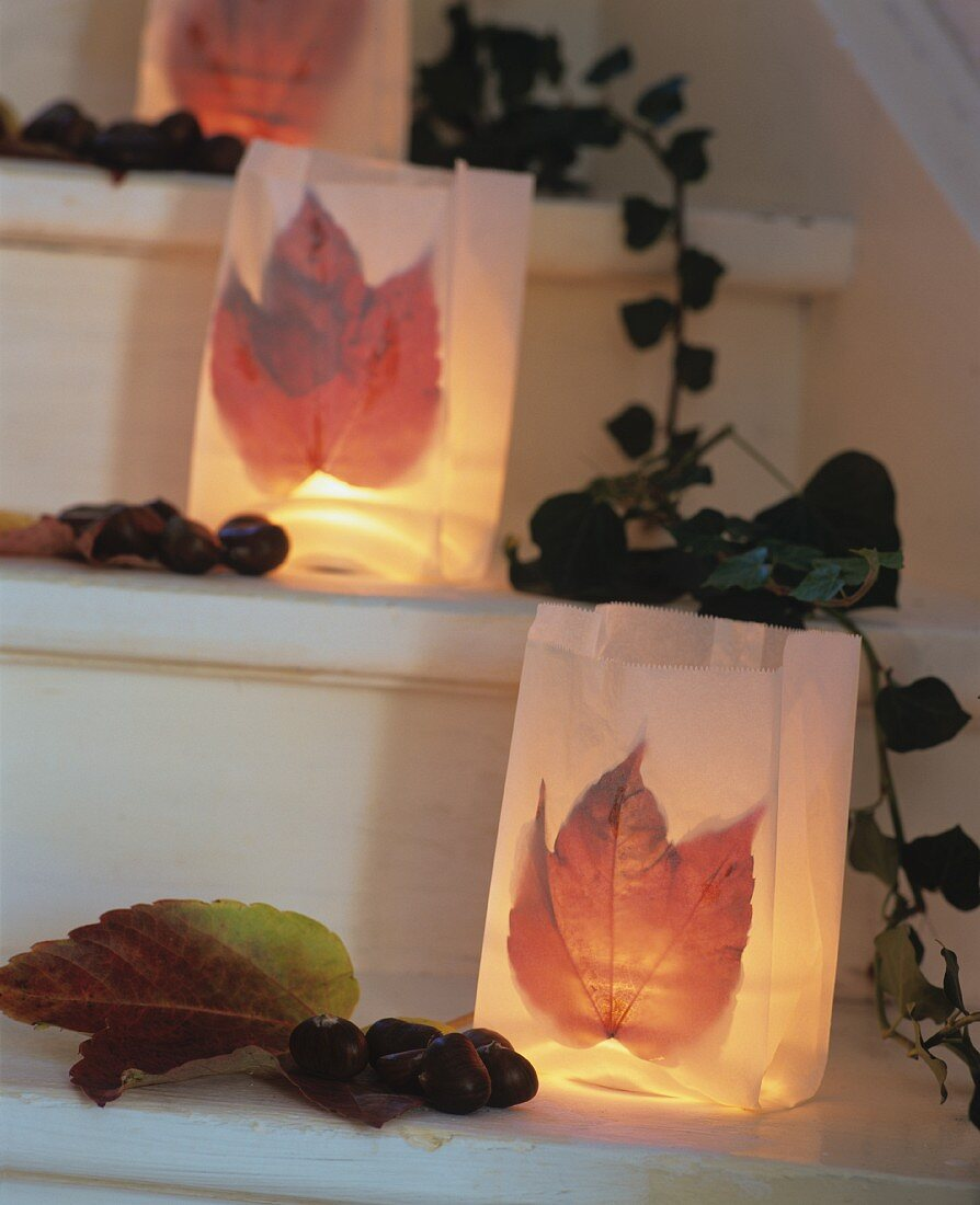 Tealights in paper bags decorated with Virginia creeper leaves on stairs