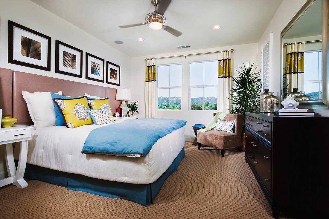 View of bedroom with ensuite bathroom; San Marcos; California; USA