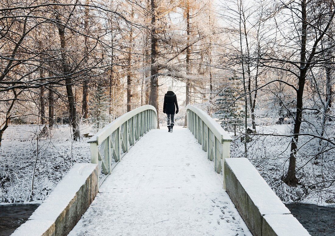 Woman crossing snow-covered bridge, rear view