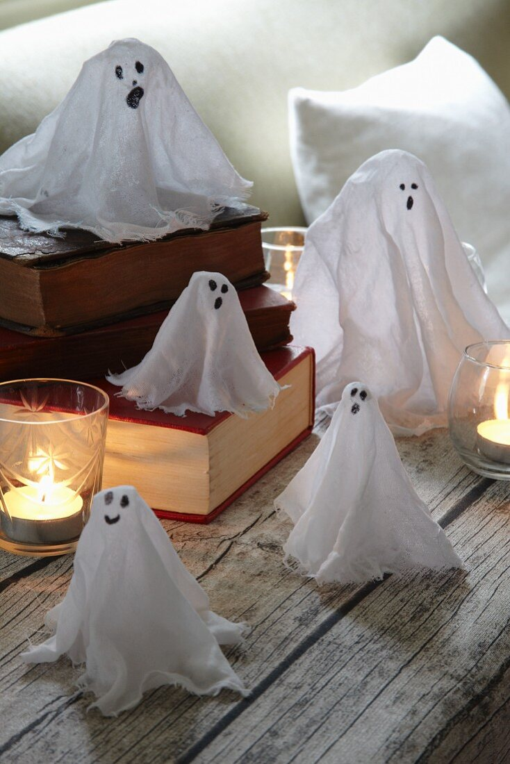 Hand-made Halloween ghost decorations