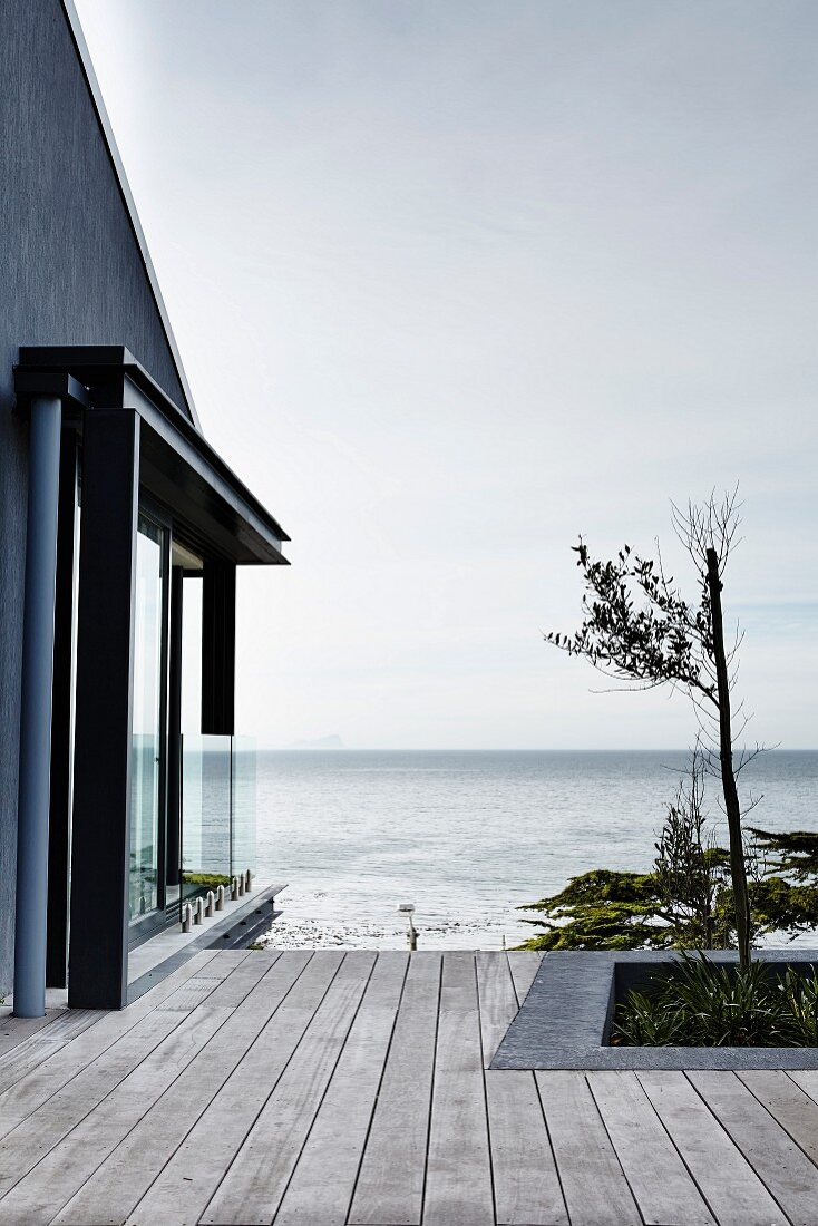 Tree planted in wooden deck adjoining house with panoramic ocean view