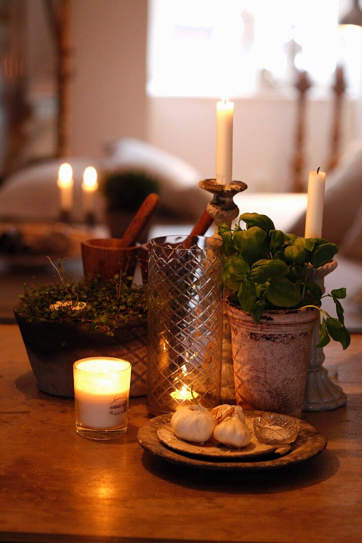 Still-life arrangement in candlelight; potted herbs and dish of garlic bulbs amongst lit andles