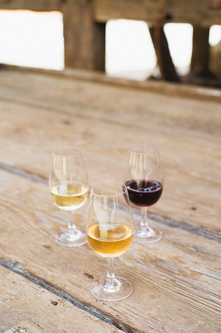 Zwei Rieslinge und ein Pinot Noir vom Weingut Frick auf einem Holztisch