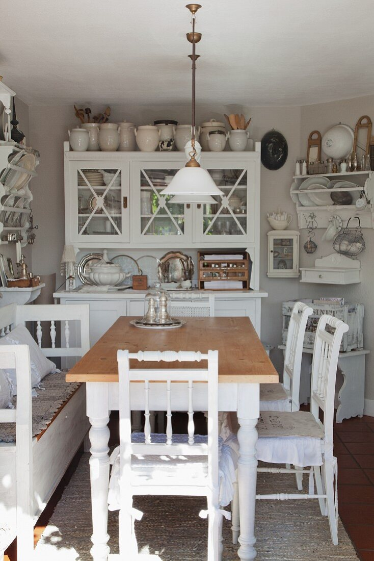 Rustic Dining Table And White Wooden Buy Image 11362629 Living4media