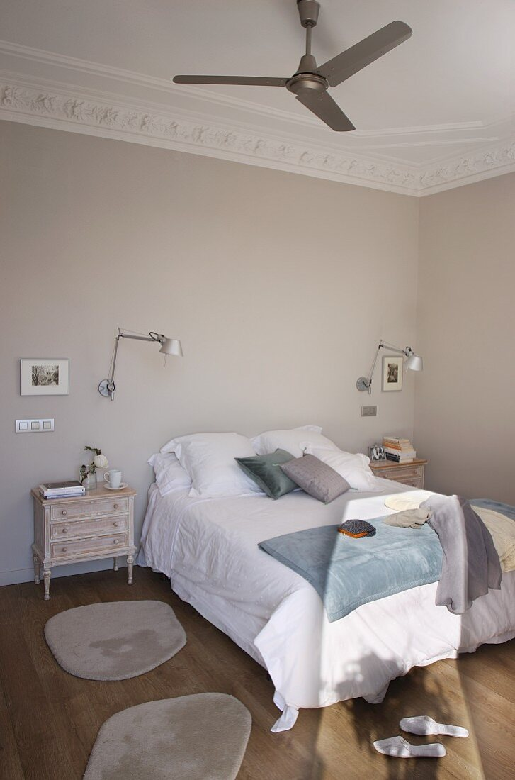 Double Bed Flanked By Shabby Chic Buy Image 11368463 Living4media