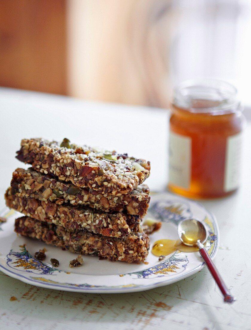 Plate of honey and muesli bars
