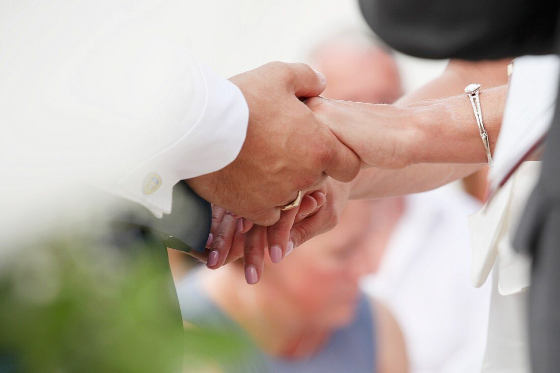 Bridal couple holding hands