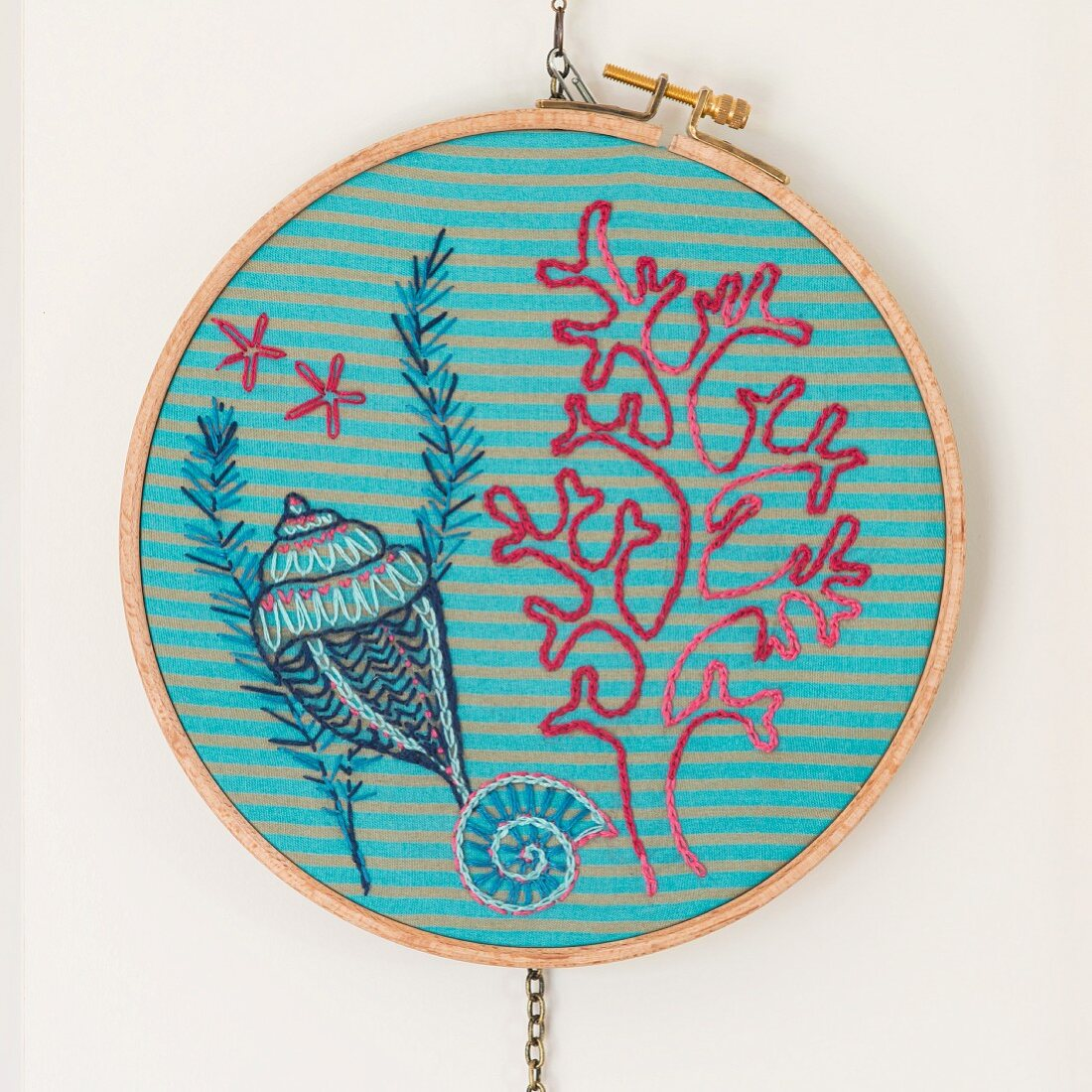 An embroidery frame with a maritime picture