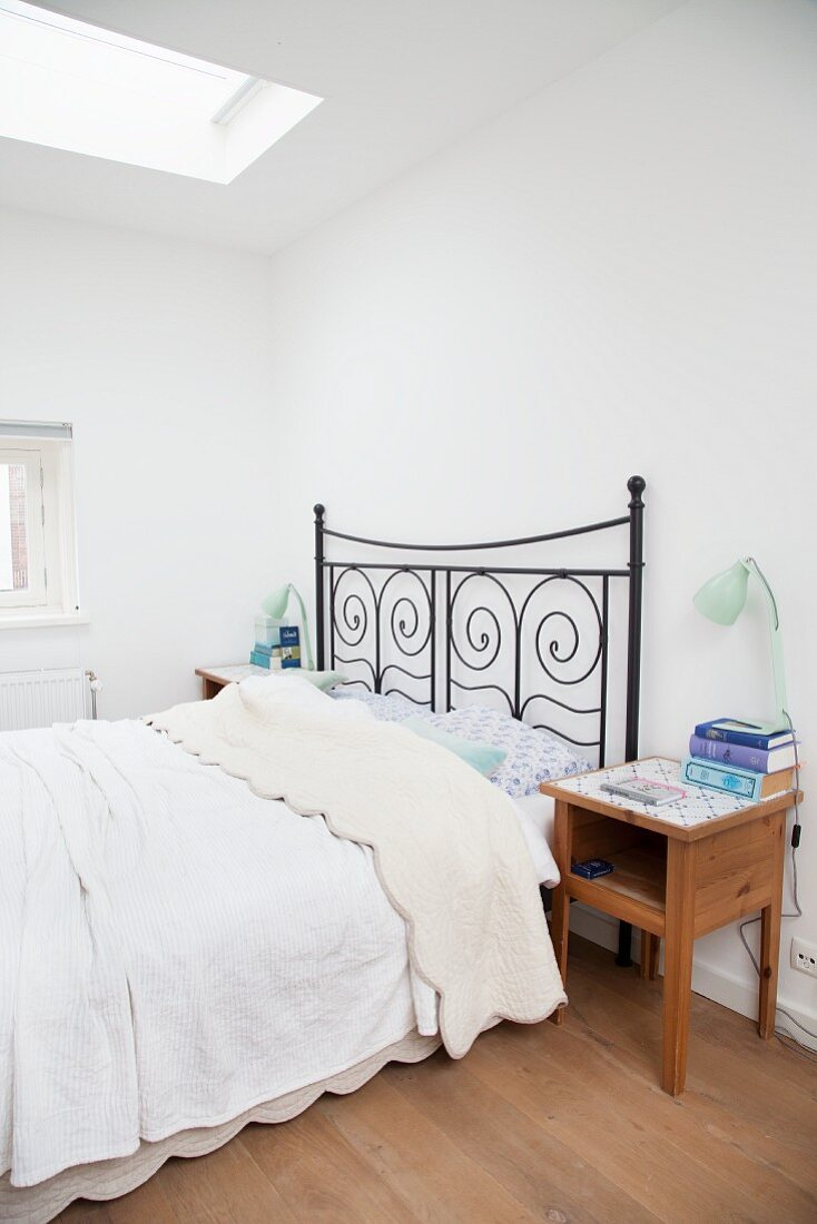 Black Metal Bed And Wooden Bedside Buy Image 12087135 Living4media