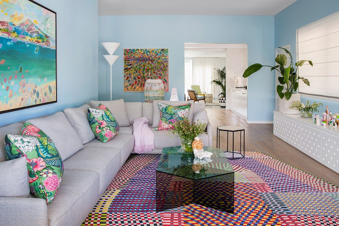 Image of: Living Room With Pastel Blue Walls Gray Buy Image 12104695 Living4media